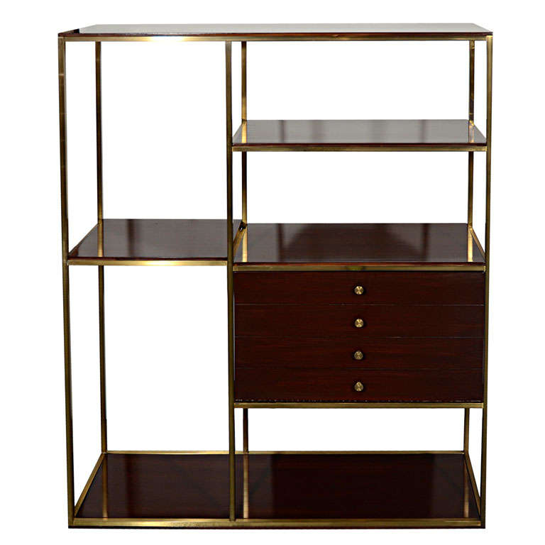 modernist etagere in walnut wood and brass by paul mccobb. Black Bedroom Furniture Sets. Home Design Ideas