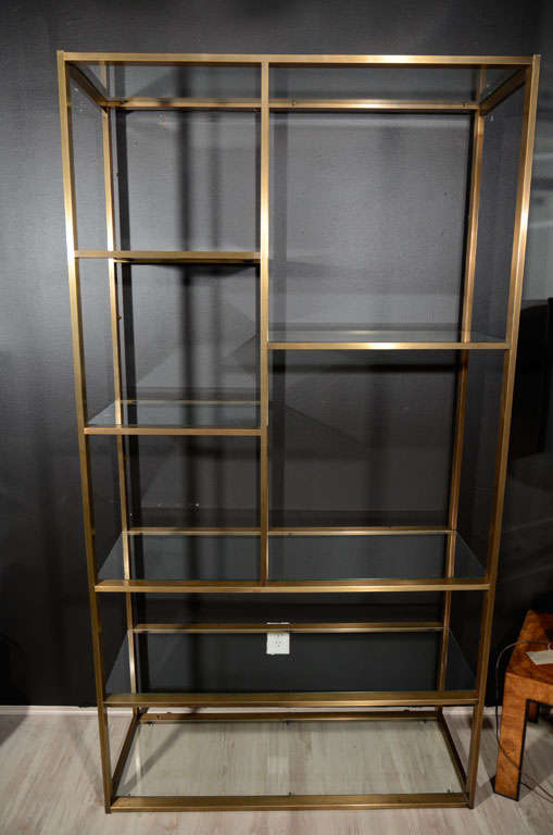 Modern Br And Gl Etagere In The Manner Of Milo Baughman For 2