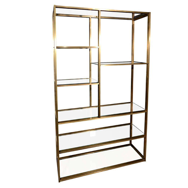 Modern Br And Gl Etagere In The Manner Of Milo Baughman For