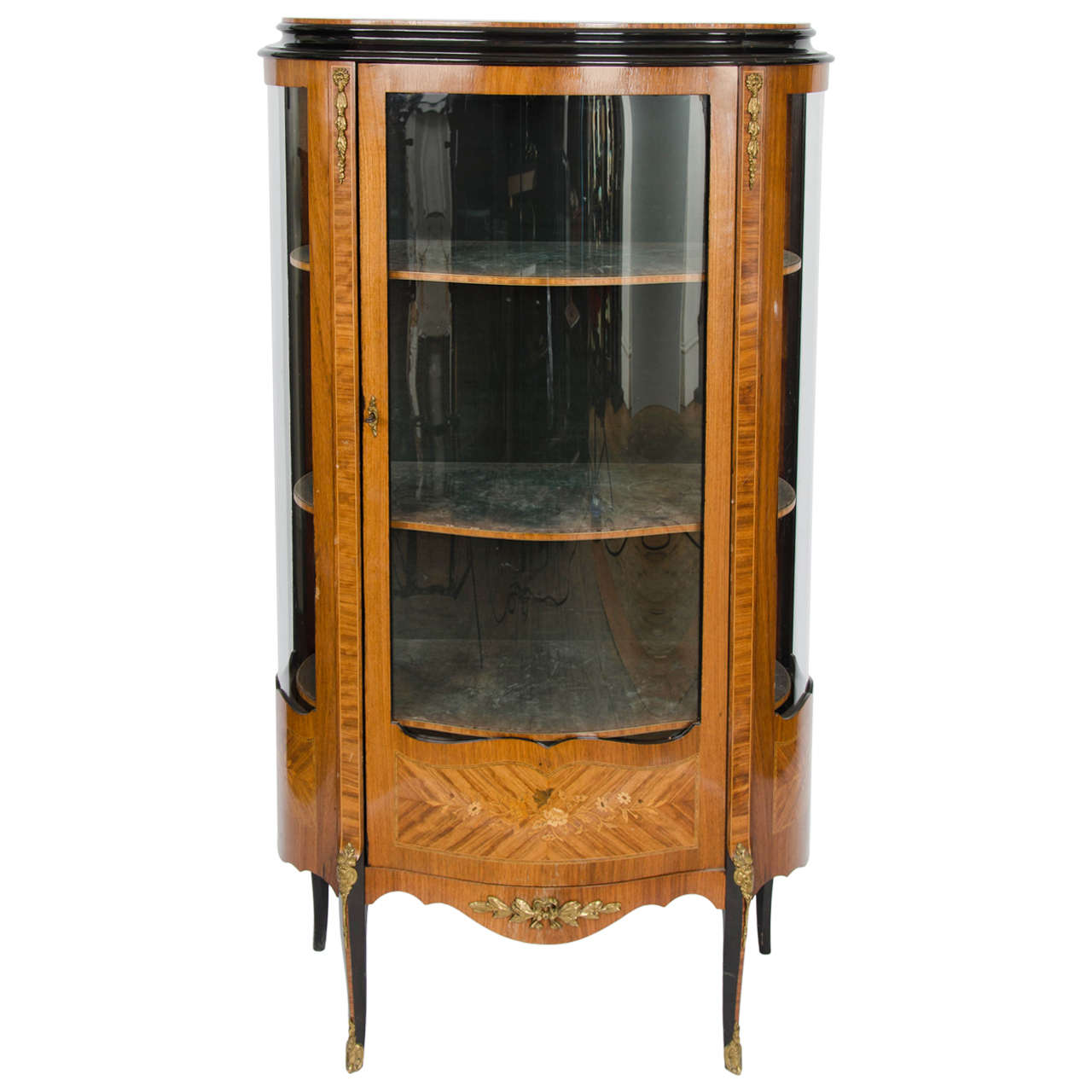 Attractive Vintage French Ormolu Vitrine Glass Display Cabinet At 1stdibs