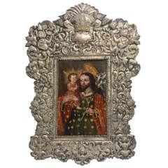 18th Century Painting Saint Joseph, Mexican Colonial Retablo