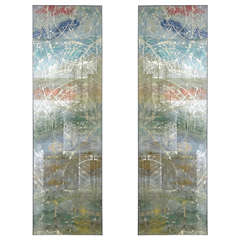 Pair of Reverse Painted Mirrored Panels