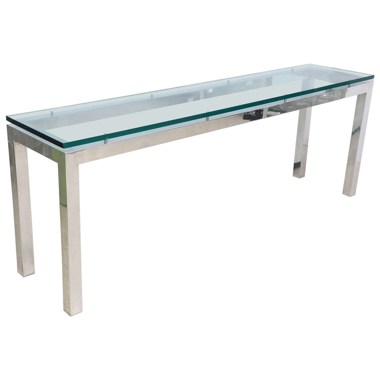 Long chrome and glass console table at 1stdibs for Long couch table