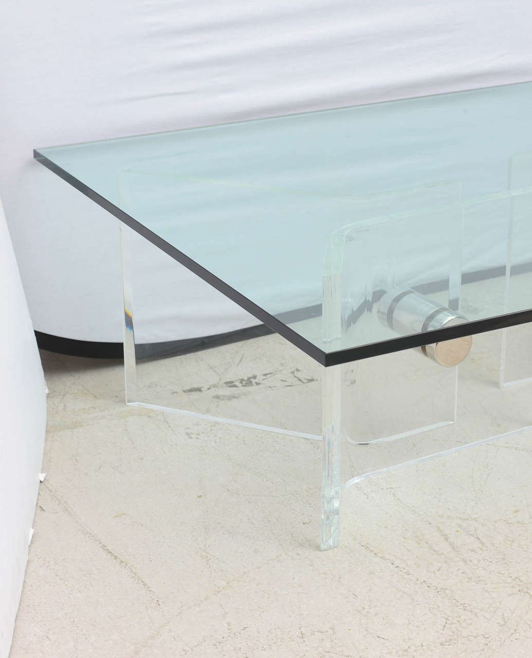 Coffee table with lucite and chrome base style of karl for Table 52 west palm beach