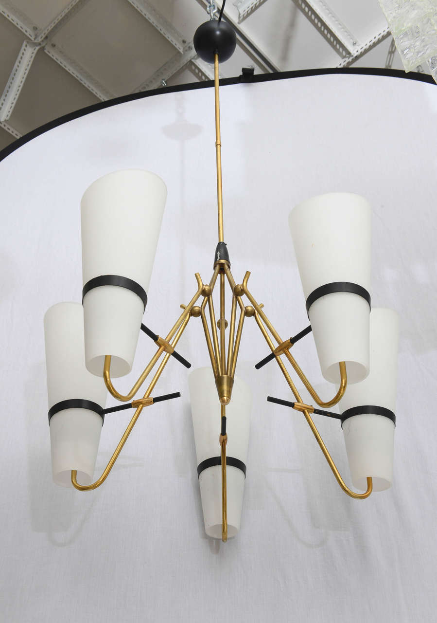 Italian Brass and Glass Chandelier in the Style of Stilnovo 2