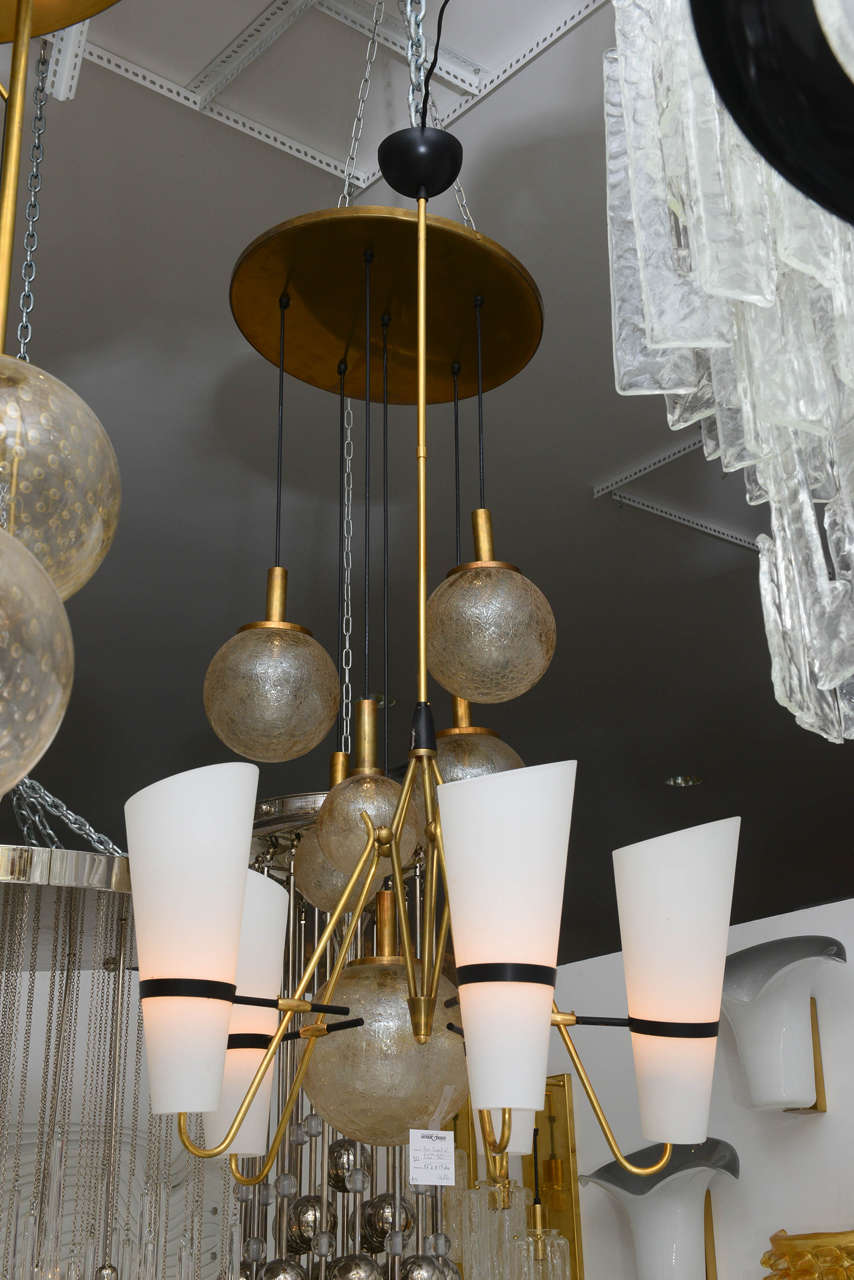 Italian Brass and Glass Chandelier in the Style of Stilnovo 10