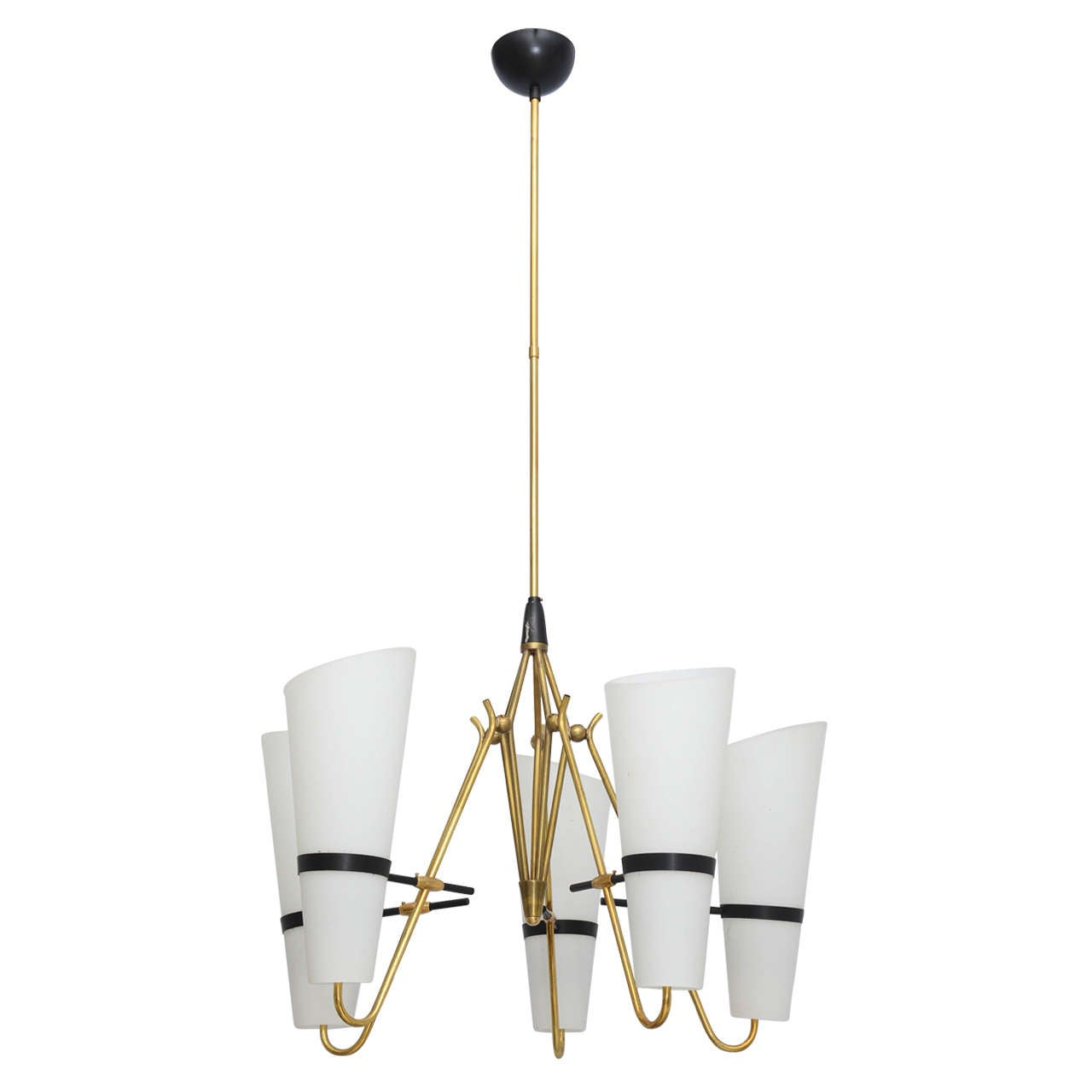 Italian Brass and Glass Chandelier in the Style of Stilnovo 1