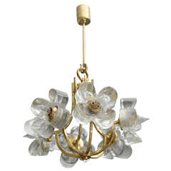 Mazzega Glass Flower Chandelier