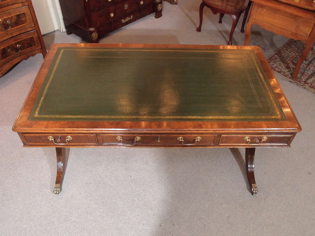 Regency Old English Mahogany Library Table For Sale