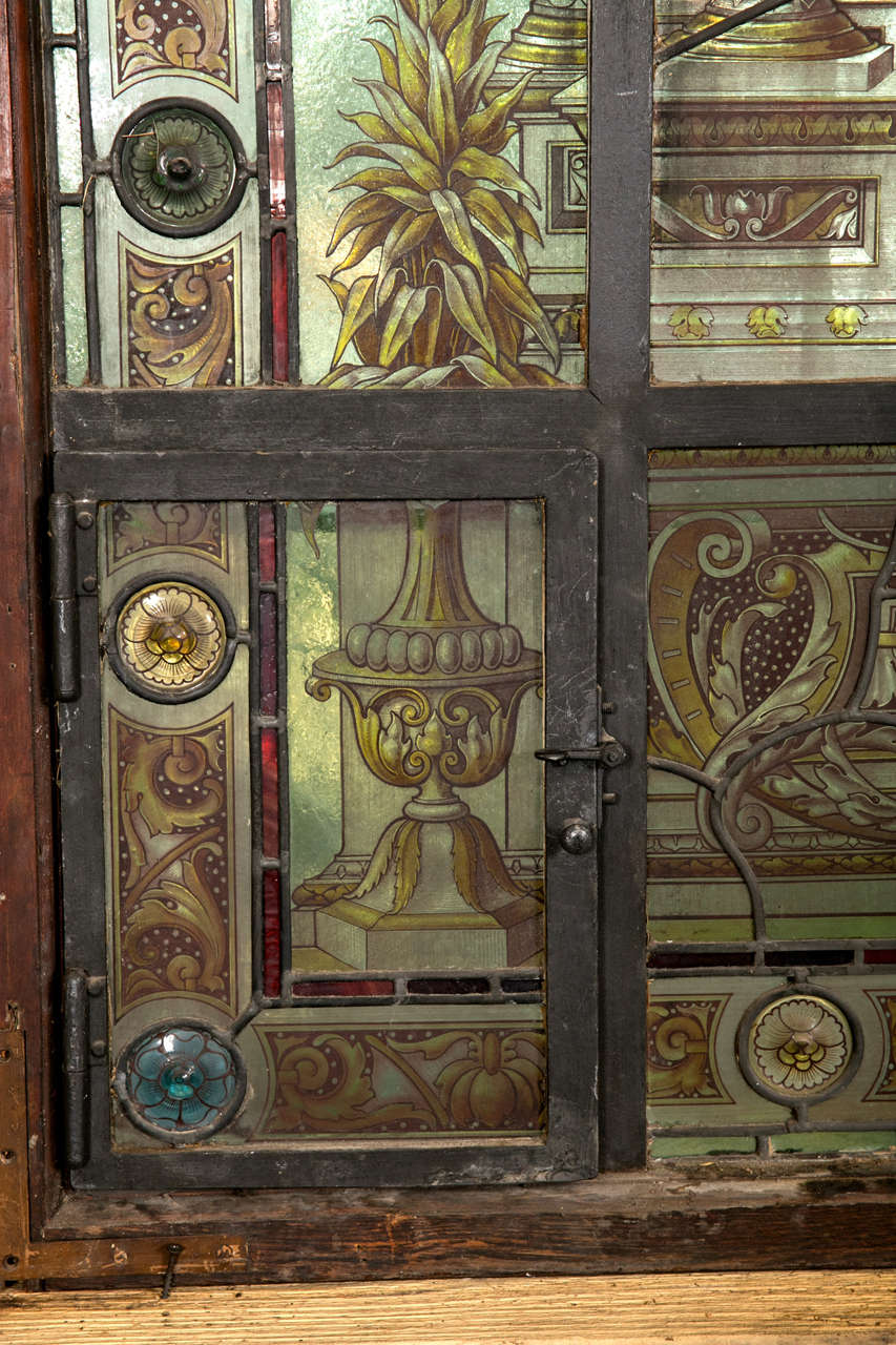 Antique Reverse Painted Stained Glass Window At 1stdibs