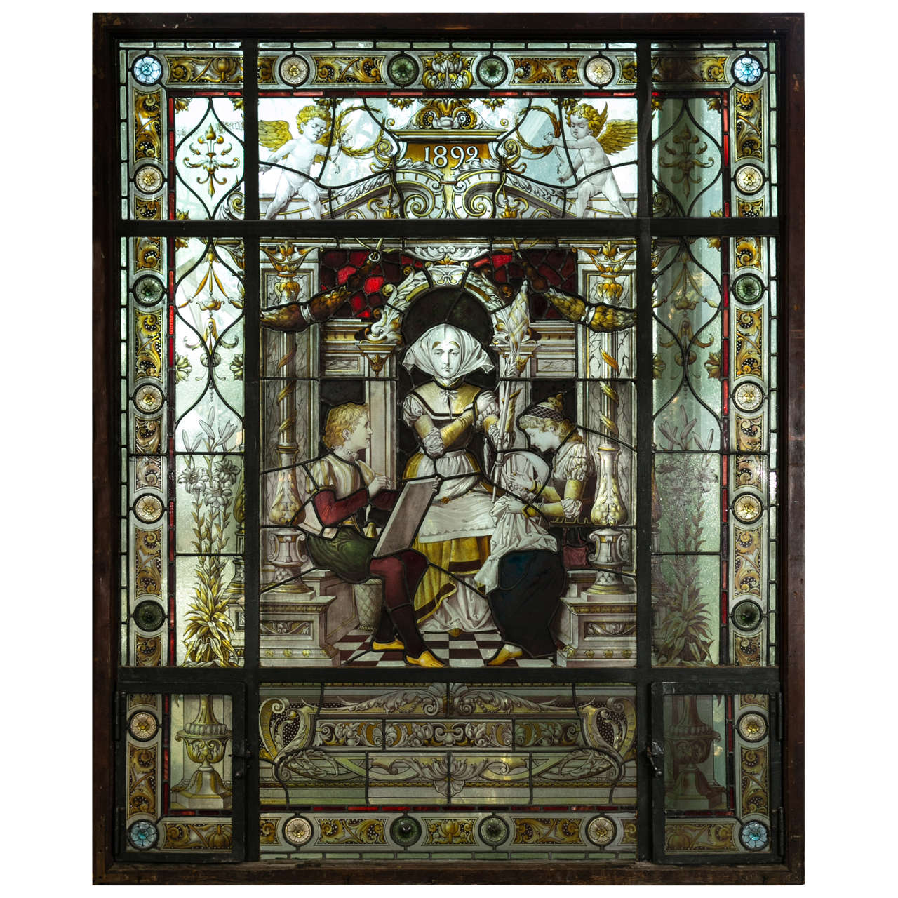 Leaded Stained Glass : Antique reverse painted stained glass window at stdibs