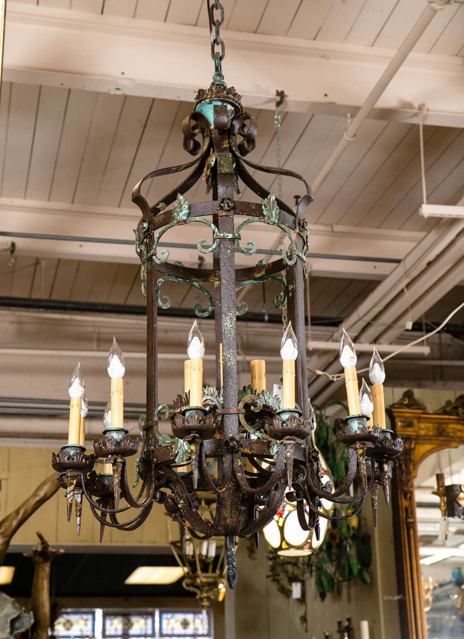 This beautiful wrought iron hand forged chandelier was salvaged from the buena vista estate