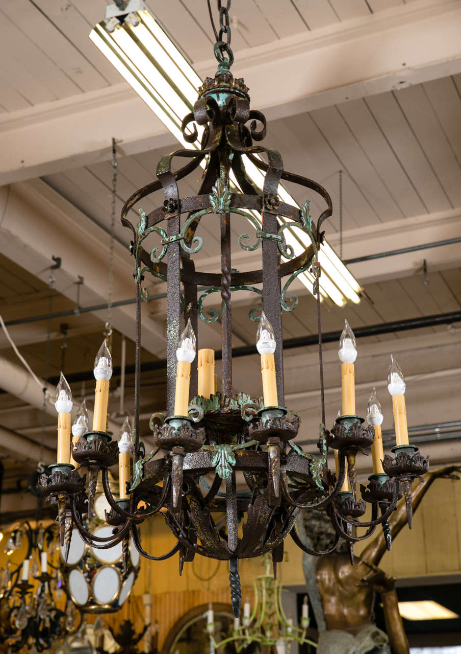Antique wrought iron chandelier from greenwich ct estate for sale 2