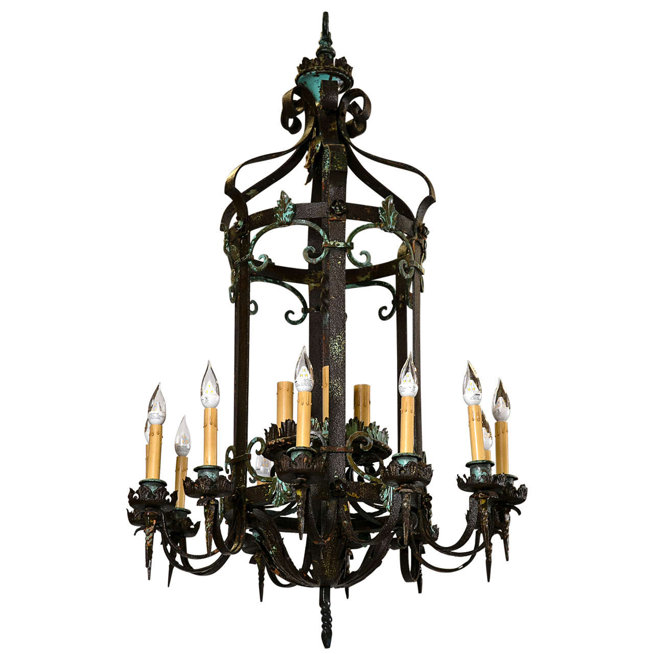 Antique wrought iron chandelier from greenwich ct estate for sale