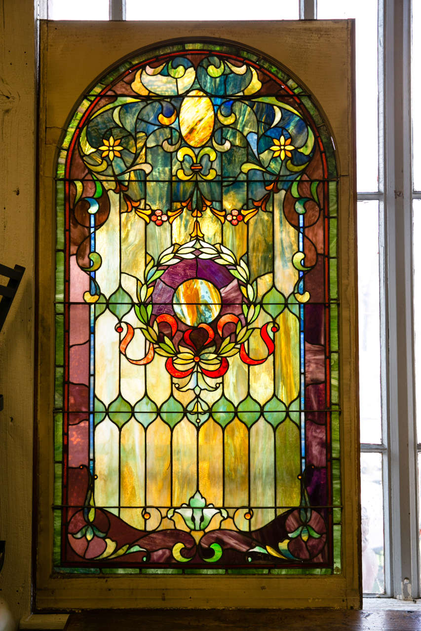 American Antique Stain Glass Window from Large Estate For Sale