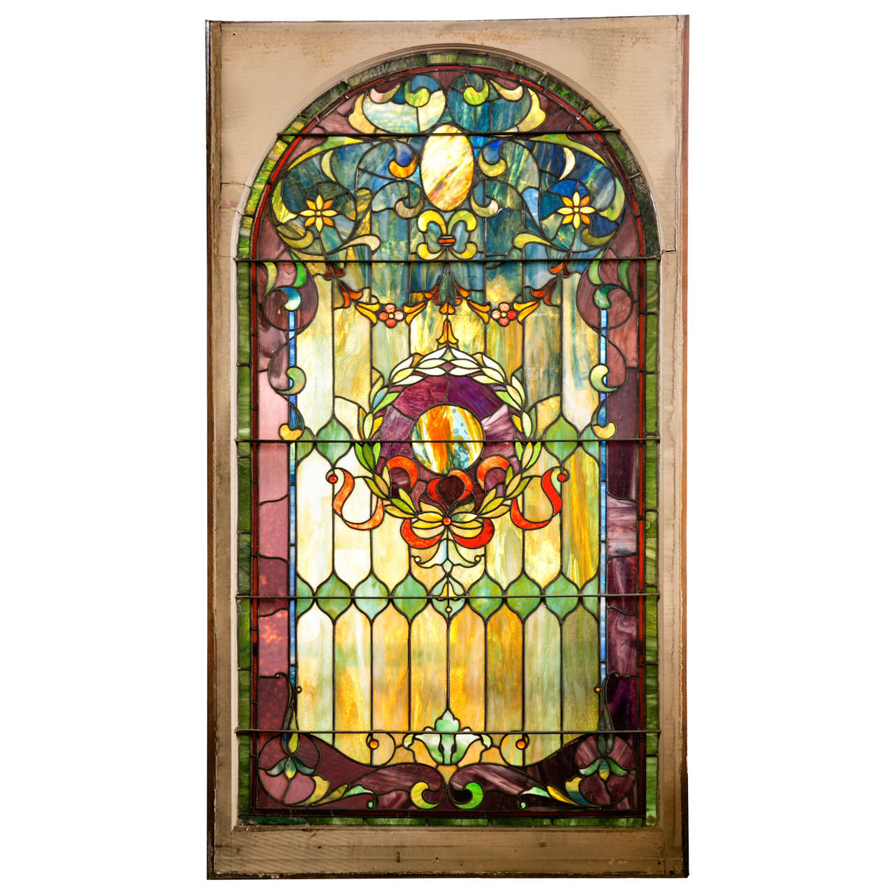 Antique Stain Glass Window from Large Estate For Sale