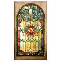 Antique Stain Glass Window from Large Estate