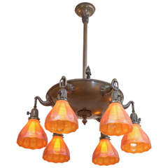 Six-Arm Chandelier with Rare and Special Glass Shades