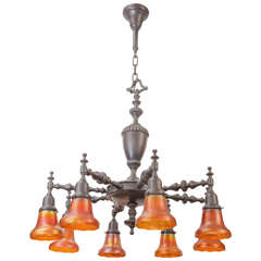 Eight-Arm Bronze Chandelier