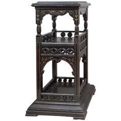 Ebonized & Gilded Aesthetic / Eastlake Victorian Pedestal