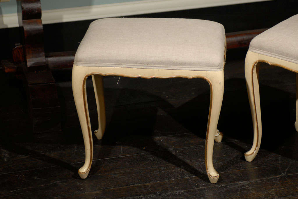 A Pair Of French Vintage Louis Xv Style Painted Stools