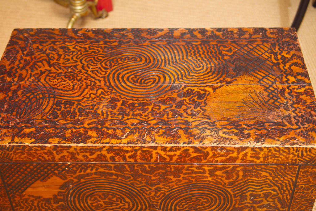 American Unique Folk Art Pyrography Chest For Sale