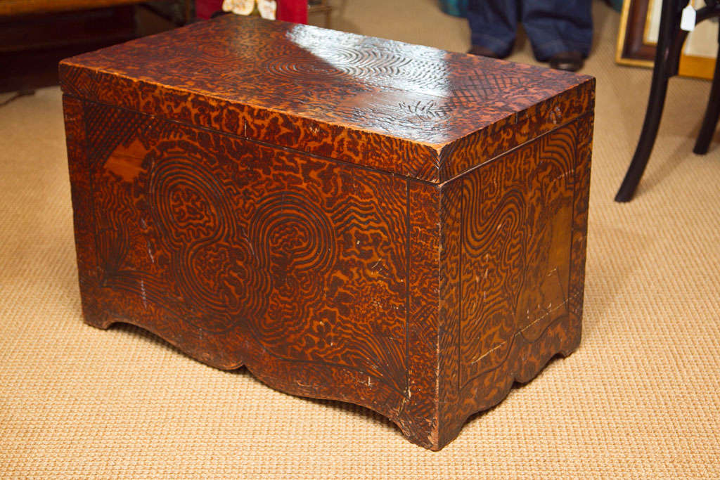 Unique Folk Art Pyrography Chest In Good Condition For Sale In Mt Kisco, NY