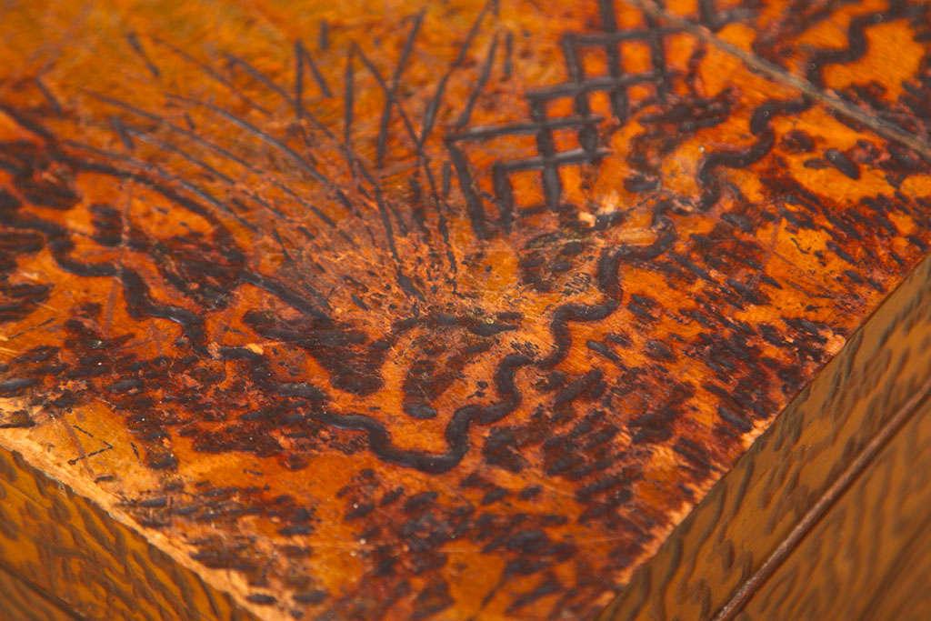 Unique Folk Art Pyrography Chest For Sale 1