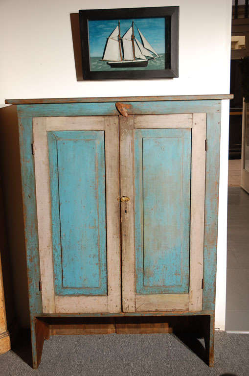 Fantastic 19thc Original Blue  Painted Jelly Cupboard 3