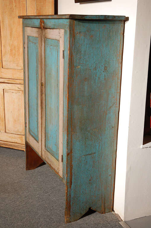 Fantastic 19thc Original Blue  Painted Jelly Cupboard 7