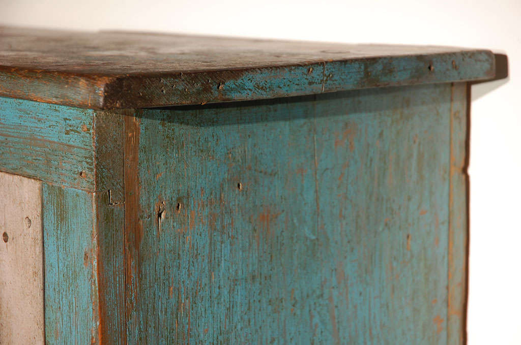 Fantastic 19thc Original Blue  Painted Jelly Cupboard 8