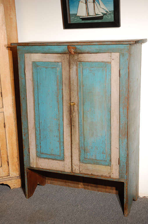 Fantastic 19thc Original Blue  Painted Jelly Cupboard 2