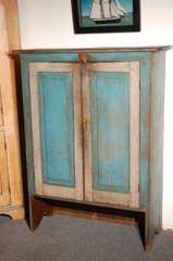Fantastic 19thc Original Blue  Painted Jelly Cupboard image 2