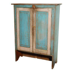 Fantastic 19thc Original Blue  Painted Jelly Cupboard