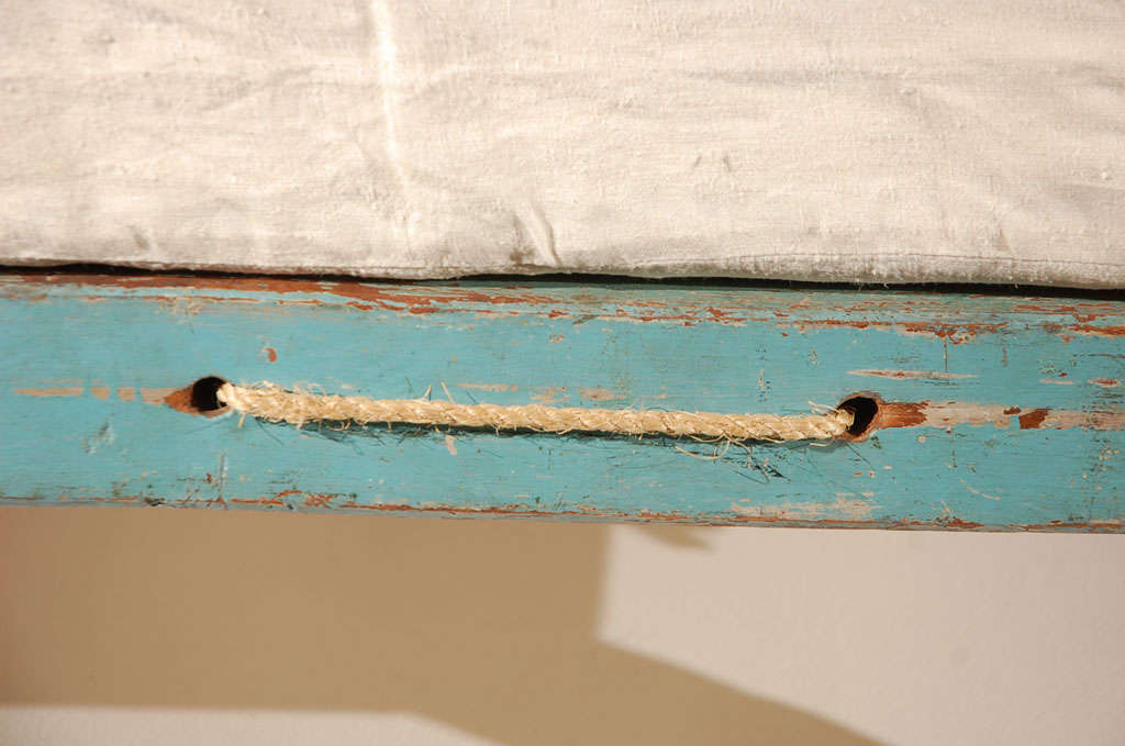 19th Century Original Blue Painted Pencil Post Hired Hands Bed In Good Condition In Los Angeles, CA