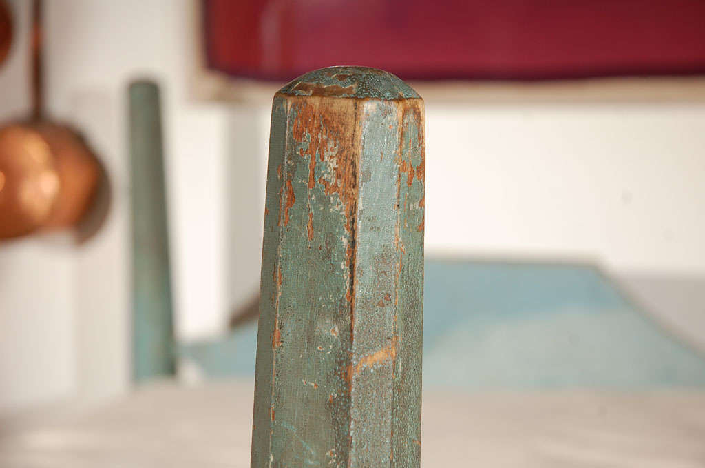 19th Century Original Blue Painted Pencil Post Hired Hands Bed 3