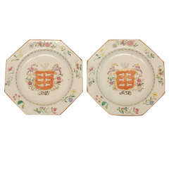 Pair of Chinese Export Octagonal Plates with Rosewood Stands