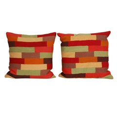 Pillows, Colorful Wool Stitched Pillow Covers with Inserts