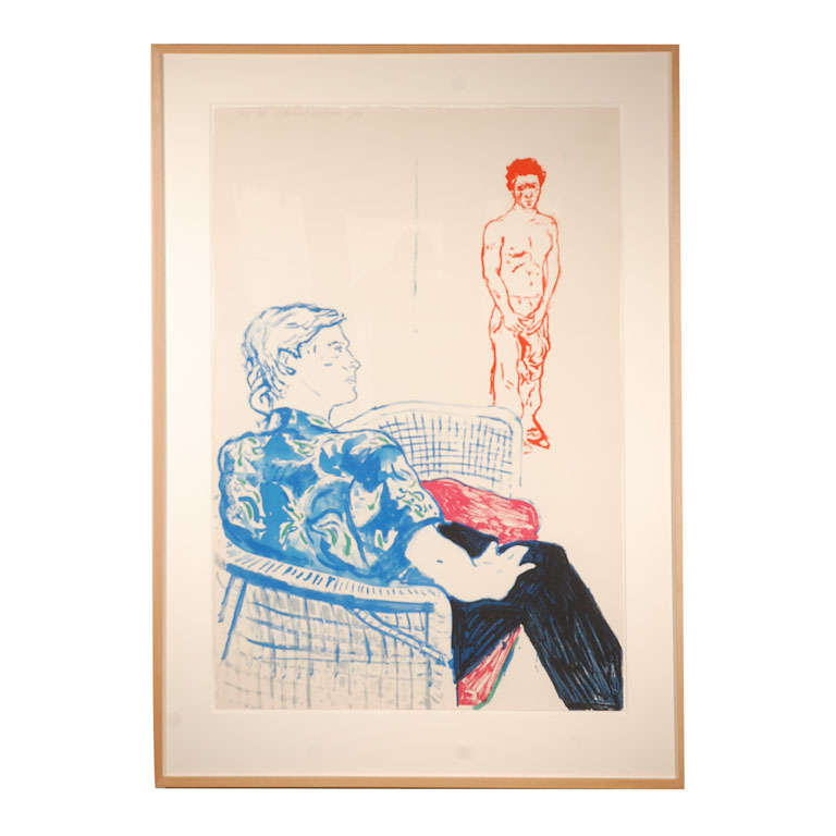 "David Hockney, ""Joe with David Harte,"" Signed Color Litho, AP VI"