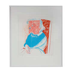 "David Hockney ""Portrait of Mother"" signed color litho"