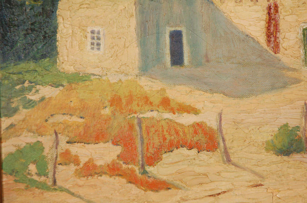 Primitive Oil on Canvas, Adobe Near Santa Fe For Sale