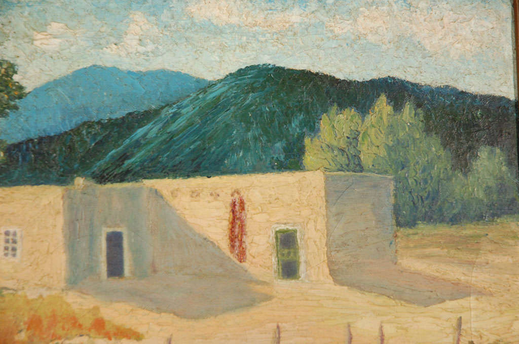 Oil on Canvas, Adobe Near Santa Fe In Excellent Condition For Sale In Van Nuys, CA