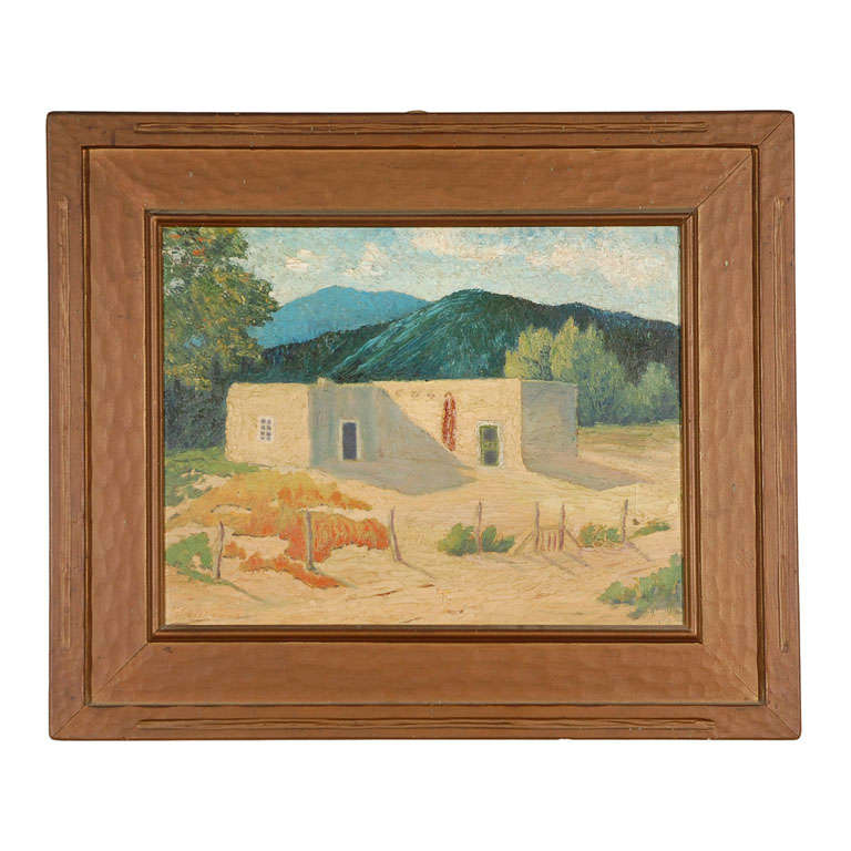 Canvas Santa Fe >> Oil On Canvas Adobe Near Santa Fe For Sale At 1stdibs
