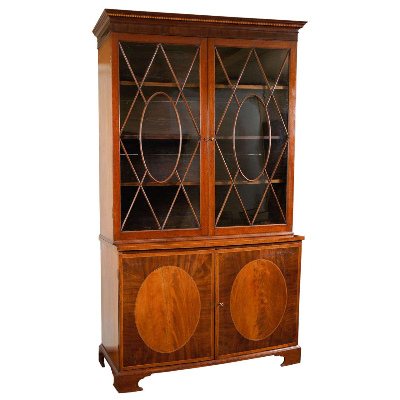 George III Mahogany Bookcase Cabinet, England, circa 1785