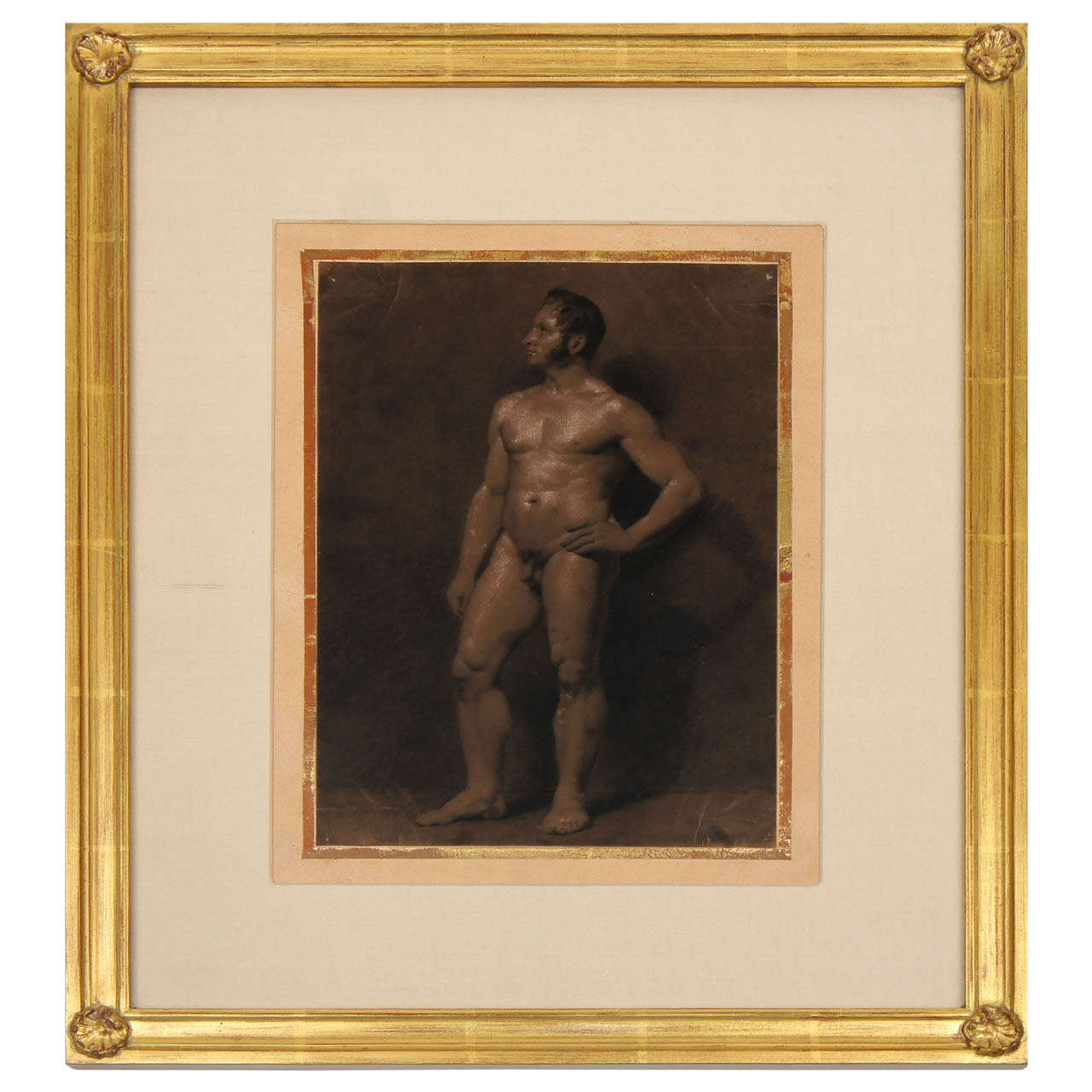 Male Nude Academic Painting on Paper, France c. 1810
