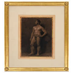 Male Nude Academic Painting on Paper, France, circa 1810