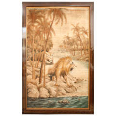 Oversized Lion and Lioness Tapestry with Macassar Frame