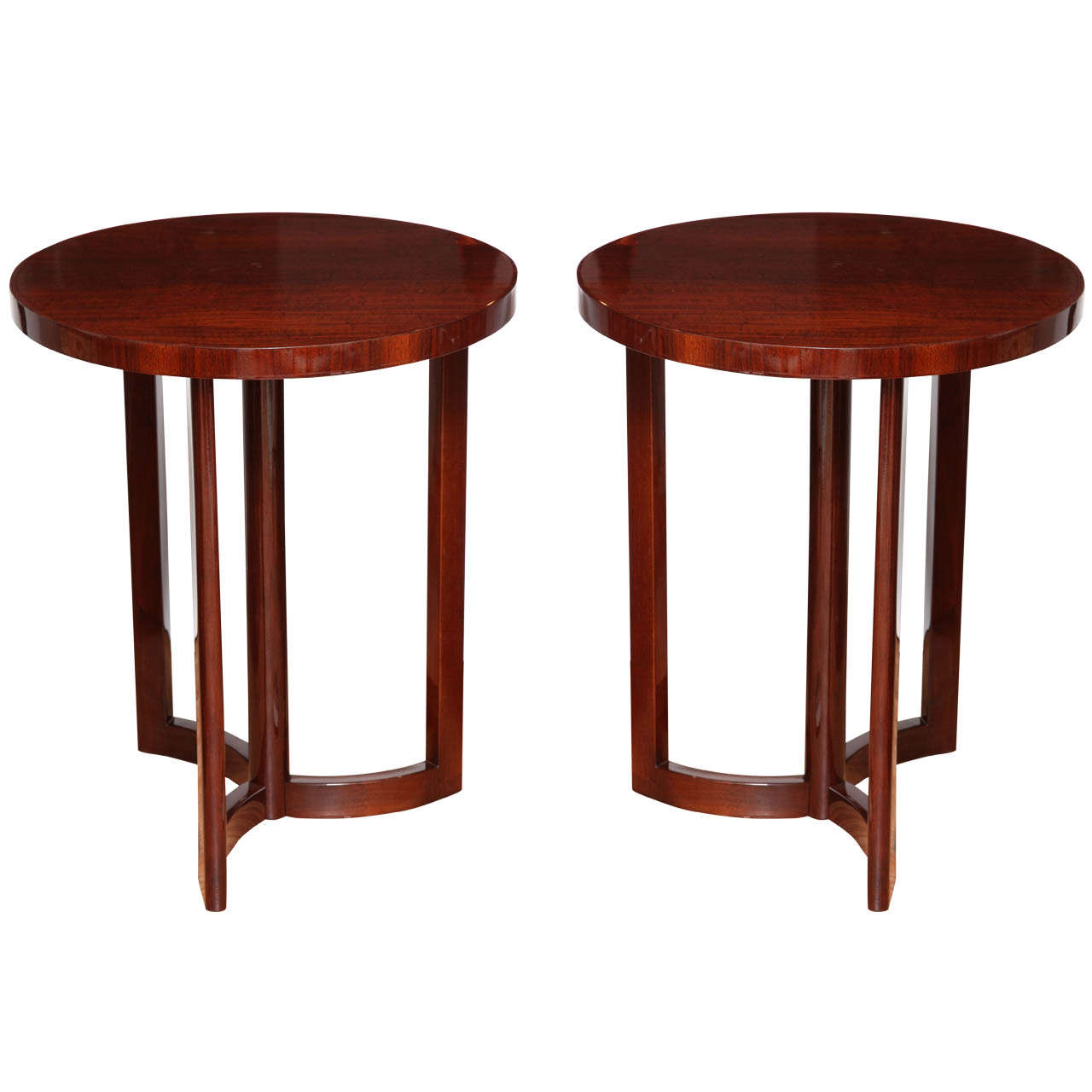 Pair of Art Deco Machine Age Tables in a Pinwheel Design from the Late 1940s