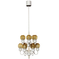 """Hans Agne Jakobsson Two Tier Chandelier with 12 Amber """"Hurricane"""" Glass Shades"""