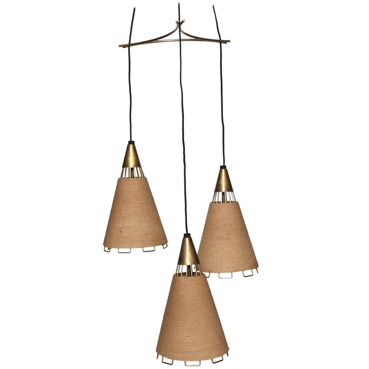 Mid century modern 3 pendant chandelier at 1stdibs for Mid century modern hanging lamp